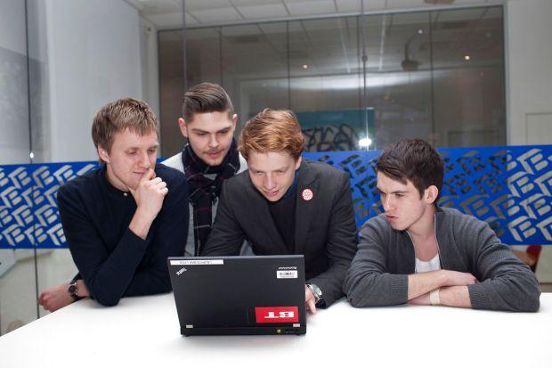 Vindergruppen af det danske Melodi Grand Prix, Anti Social Media, chatter med bt.dks brugere dagen efter sejren i Aalborg. søndag den 8. februar 2015 i BT news room