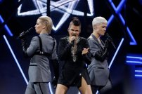 """Finland's Saara Aalto performs """"Monsters†during the Semi-Final 1 for Eurovision Song Contest 2018 at the Altice Arena hall in Lisbon, Portugal, May 8, 2018. REUTERS/Pedro Nunes"""